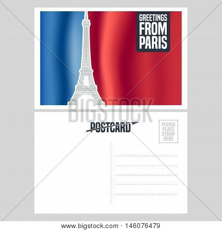 France Paris vector postcard design with Eiffel tower and French flag. Template illustration element nonstandard vacation postcard with copyspace mark stamp and Greetings from Paris sign
