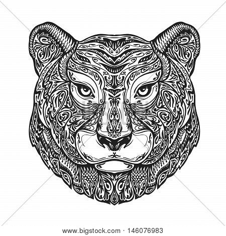 Ethnic ornamented tiger, puma, panther, leopard or jaguar. Hand-drawn vector illustration with floral elements