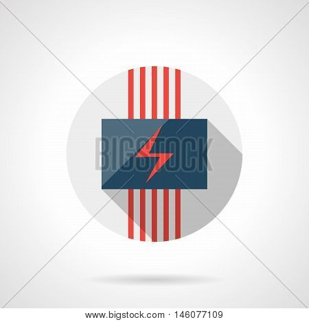 Panel with red power sign and cables. Electric heating underfloor system for house. Modern climatic technology. Gray round flat vector icon with long shadow.