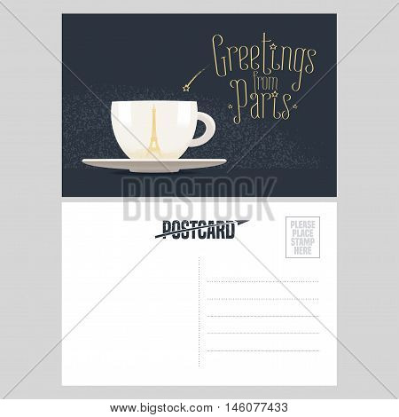 France Paris vector postcard design with cup of coffee and Eiffel tower. Template illustration element nonstandard mail postcard with copyspace post office stamp and Greetings from Paris sign