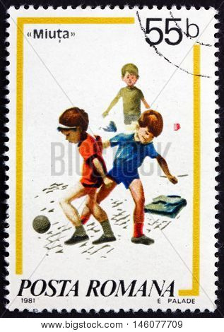 ROMANIA - CIRCA 1981: a stamp printed in Romania shows Soccer Children's Games circa 1981