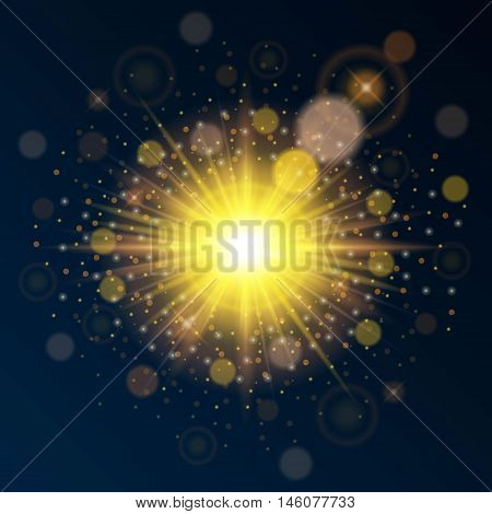 Bright high-quality gold template for new year and Christmas. Use bright sunlight effect. Vector illustration.