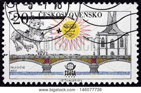 CZECHOSLOVAKIA - CIRCA 1978: a stamp printed in Czechoslovakia shows Palacky Bridge Prague circa 1978