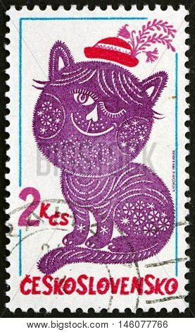 CZECHOSLOVAKIA - CIRCA 1980: a stamp printed in Czechoslovakia shows Dandy and Posy Folktale Character Embroidery circa 1980