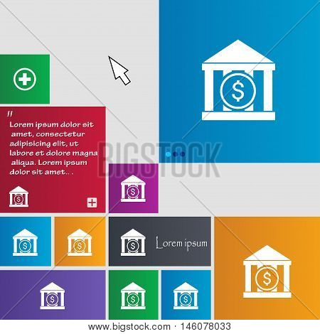 Bank Vector Icon Sign. Buttons. Modern Interface Website Buttons With Cursor Pointer. Vector