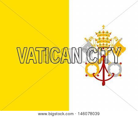 Illustration of the national flag of the Vatican City also called Holy See with the country written on the flag