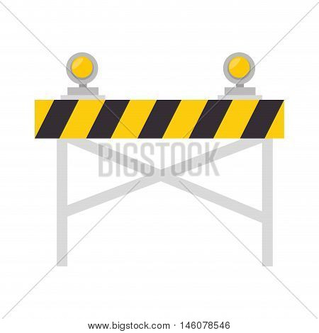 road barrier with lights warning construction sign vector illustration