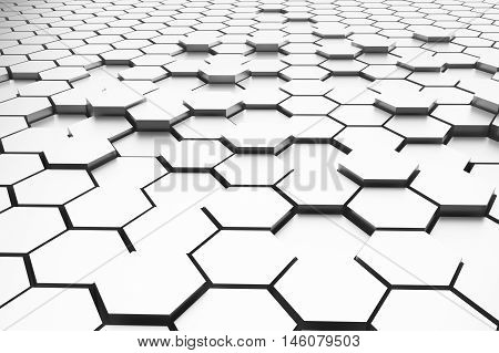 abstract white hexagons 3d rendering for background