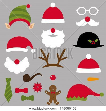 Christmas Santa, elf, deer and snowman design elements set (photo booth props)