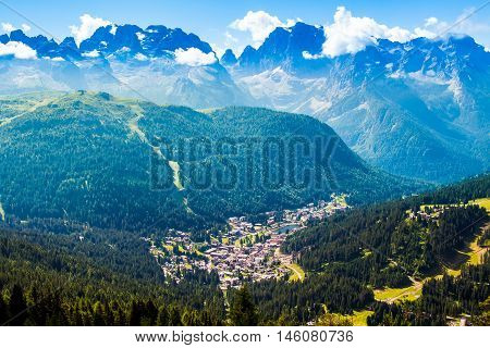 aerial view of Madonna di Campiglio a town in the Alps of Trentino Italy