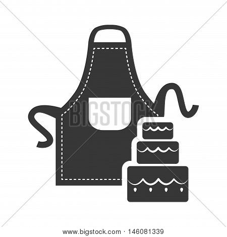 Apron and cake icon. Bakery food and shop theme. Isolated design. Vector illustration