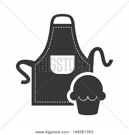 Apron and muffin icon. Bakery food and shop theme. Isolated design. Vector illustration