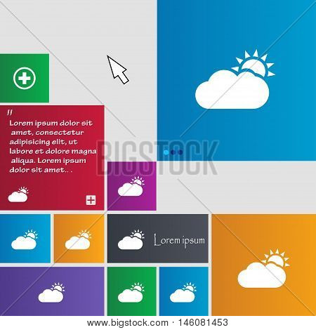 Partly Cloudy Icon Sign. Buttons. Modern Interface Website Buttons With Cursor Pointer. Vector
