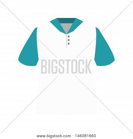 white polo shirt with blue sleeves and buttons. vector illustration