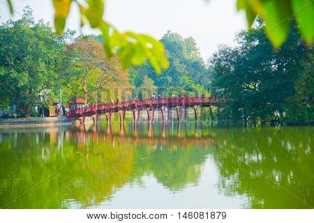 Red Bridge In Hoan Kiem Lake, Ha Noi