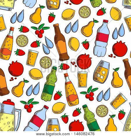 Pattern of fruits and cold drinks with seamless background of soft beverages, juice and water bottles, lemonade jar, fresh strawberry, lemon, pear, pomegranate and cranberry fruits