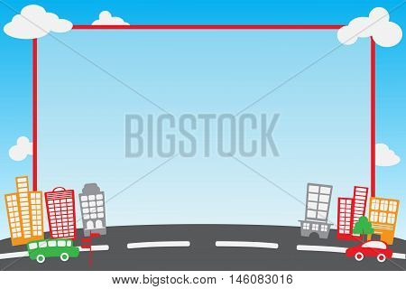 City, car, sky frame and template for instant photo corner or photobooth. Vector silhouette of the modern city. Abstract city template.