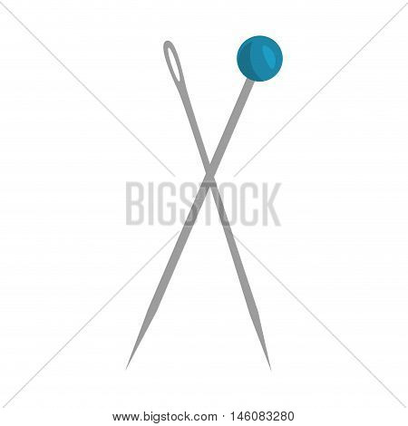 sewing push pin with blue head and needle vector illustration