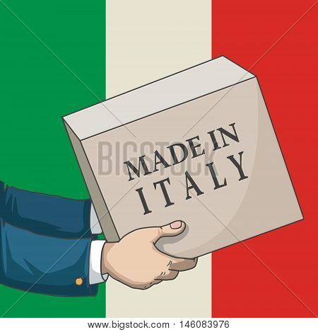 Cartoon, hand drawn human hands, holding a box, with made in Italy sign, and a flag background, vector illustration
