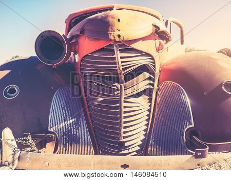 Close up photo of a wrack on an old car on the Namib Desert Namibia Africa.