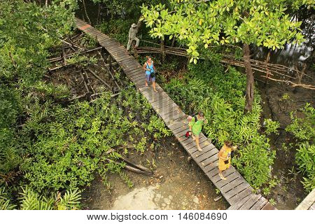 CAMBODIA - DECEMBER 9: Unidentified people walk on a boardwalk on December 9, 2011 in Ream National Park, Cambodia. Ream National Park is a popular day trip from Sihanoukville