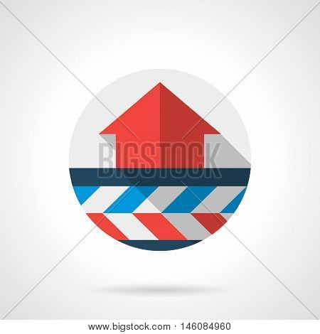 Air heating system scheme. Red up arrow and underfloor pipeline. Modern climatic technology services. Gray round flat vector icon with long shadow.