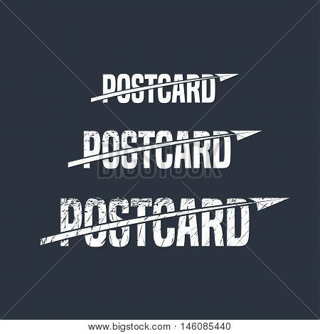 Postcard vector logo, emblem, symbol. Template design element with paper airplane and sign postcard for post office, mail service