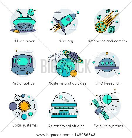 Colored and isolated space universe icon set in linear style with descriptions of moon rover missilery astronautics solar systems for example vector illustration