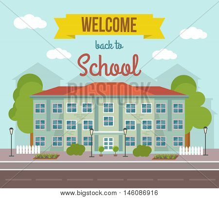 School flat colored poster with building landscape and welcome back to school headline vector illustration