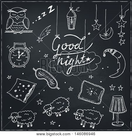 Doodle set of images about good night Vector illustration