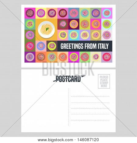Italy, Rome vector postcard design with plate of spaghetti pasta. Template illustration, element, nonstandard mail postcard with copyspace, post office stamp and Greetings from Italy sign