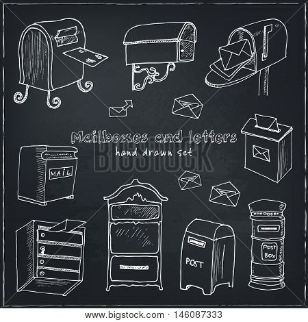 Doodle postbox set Vintage illustration for identity, design, decoration, packages product and interior decorating.