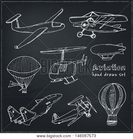 Doodle aviation set Vintage illustration for identity, design, decoration, packages product and interior decorating.