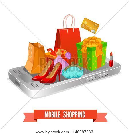 Mobile shopping design of packets and boxes shoes and cosmetic on smartphone and banking card vector illustration
