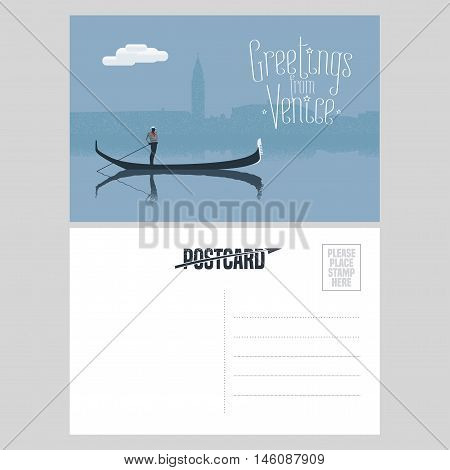 Italy, Venice vector postcard design with gondola and gondolier at Venice canal. Illustration, nonstandard mailing postcard with copyspace, post office stamp and Greetings from Venice sign