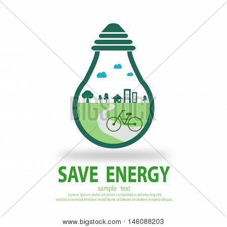 Bulb light with bicycle inside, Eco green energy, save energy , Save the World, Vector Illustration