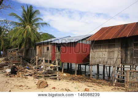 Stilt houses on Koh Rong Samlon island Cambodia Southeast Asia