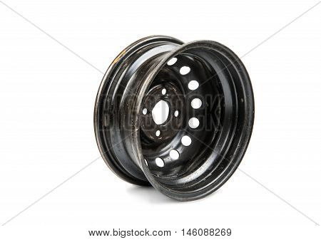 car alloy wheel isolated on white background.