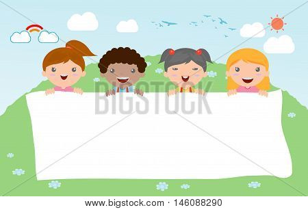 kids peeping behind placard, happy children, Cute little kids on background,Vector Illustration