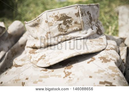 JERSEY CITY NJ MAY 29 2016: US Marine combat utility uniform folded and stacked in a neat pile in Liberty State Park in Jersey City, NJ during Fleet Week 2016.