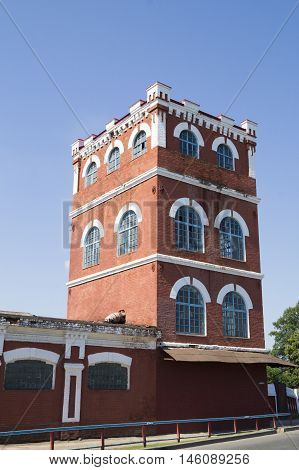 pictured ancient tower Dobrush paper mill. Belarus