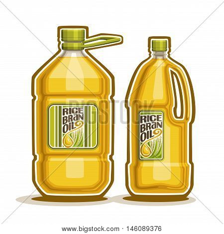 Vector logo 2 big yellow plastic Bottle with Rice Bran Oil and label, gallon canister filled pure cooking oil,cartoon large container with viscous liquid with cap and handle, closeup isolated on white