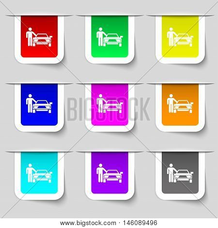 Person Up Hailing A Taxi Icon Sign. Set Of Multicolored Modern Labels For Your Design. Vector