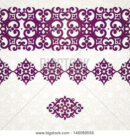 Vector Ornate Seamless Borders In Eastern Style.