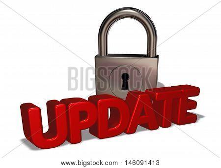 the word update and padlock - 3d rendering