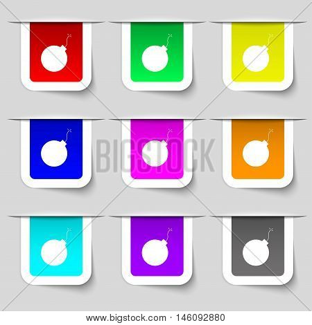 Bomb Icon Sign. Set Of Multicolored Modern Labels For Your Design. Vector