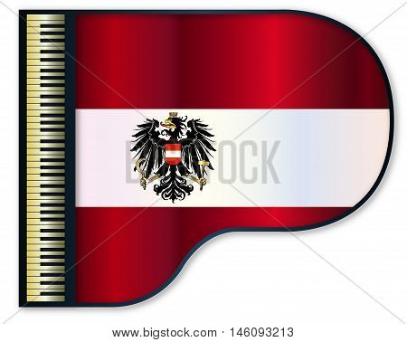 The Austrian flag set into a traditional black grand piano