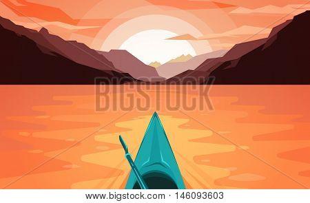 Flat style illustration. Fun outdoor journey kayak