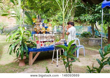 CHIANG RAI THAILAND - SEPTEMBER 1 : unidentified thai people participate Thai traditional rituals on September 1 2016 in Chiang rai Thailand.