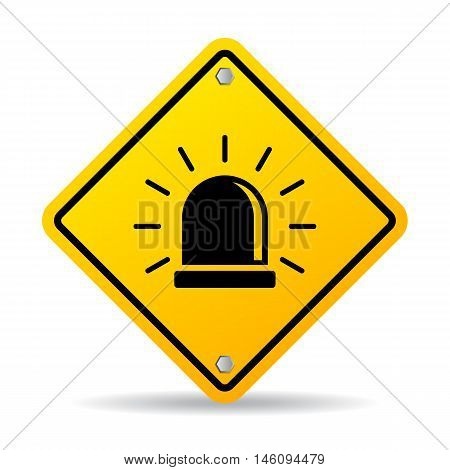 Alarm warning sign vector illustration isolated on white background